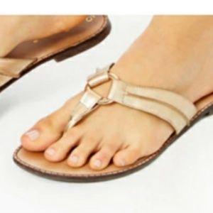 Lilly PULITZER Gold Leather Sandal Flip Flop
